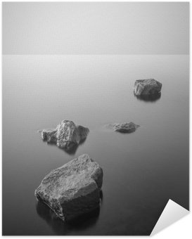 Poster HD Minimalist misty landscape. Black and white.