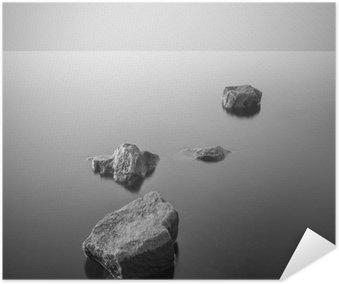 Minimalist misty landscape. Black and white. Poster HD