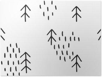Póster HD Modelo escandinavo con los abetos. patrones sin fisuras de invierno, mano dibujada en tinta negro. Perfecto para el embalaje de regalo o impresión sobre tela. Patrón de Navidad sin fisuras mínima.