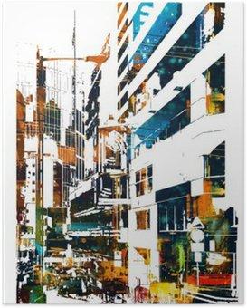 modern urban city,illustration painting Poster HD