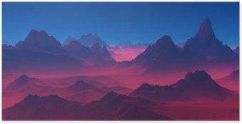 Poster HD Montagnes au coucher du soleil