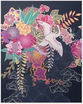 Poster HD Motif floral décoratif kimono