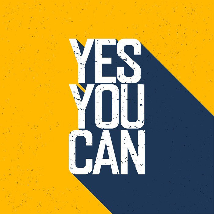"""Poster HD Motivational poster with lettering """"Yes You Can"""". Shadows, on ye - Graphic Resources"""