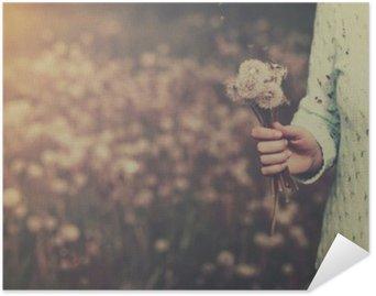 Póster HD Mujer con el manojo de flores de diente de león en la mano