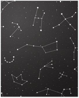 Poster HD Nuit étoilée, seamless, fond avec des étoiles et des constellations, illustration vectorielle