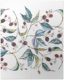 Póster HD Ornamento sin fisuras acuarela dibujado a mano con motivos naturales: ramas de zarzamora, hojas y bayas. Repetida ilustración decorativa, frontera con bayas y hojas