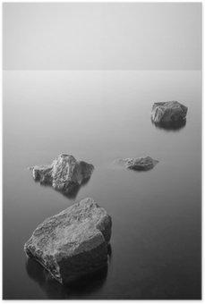 Póster HD Paisaje brumoso minimalista. En blanco y negro.