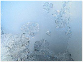Póster HD Patrón de heladas en un cristal de ventana de invierno
