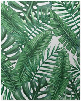 Poster HD Paume tropical Aquarelle feuilles seamless pattern. Vector illustration.