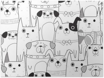Póster HD Perros seamless pattern