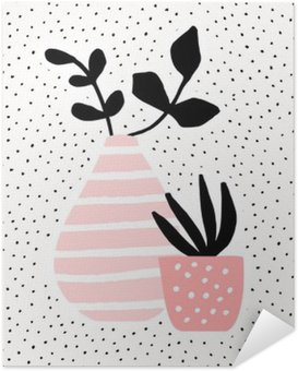 Poster HD Pink Vase and Pot with Plants