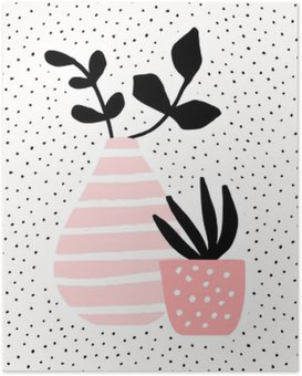 Pink Vase and Pot with Plants Poster HD