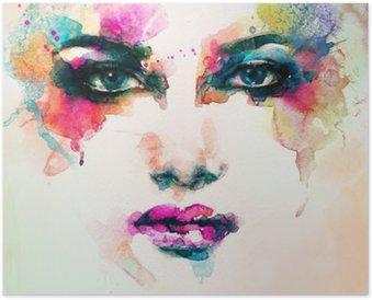 Poster HD Portrait de femme. aquarelle abstraite. mode arrière-plan