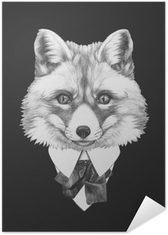 Poster HD Portrait of Fox in suit. Hand drawn illustration.