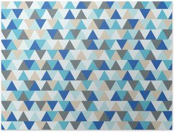 Poster HD Résumé triangle vecteur fond, motif géométrique de vacances d'hiver bleu et gris