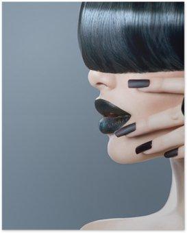 Póster HD Retrato niña modelo de alta moda con estilo de pelo de moda