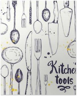 Poster HD Seamless avec des ustensiles de cuisine. modèle de menu.