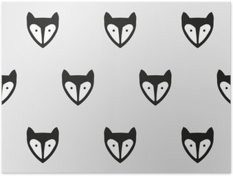 seamless fox pattern Poster HD