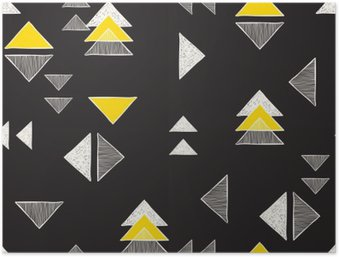 Seamless hand-drawn triangles pattern. Poster HD