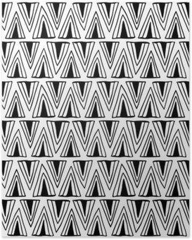 Poster HD Seamless noir et blanc avec des triangles.