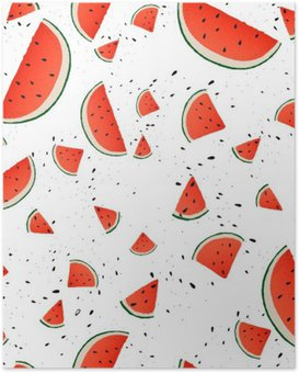 Seamless pattern of watermelon slices. Vector summer background with hand drawn slices of watermelon. Vector. Poster HD