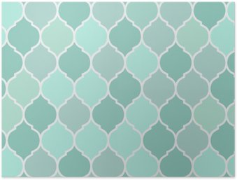 Seamless pattern turquoise tiles, vector Poster HD