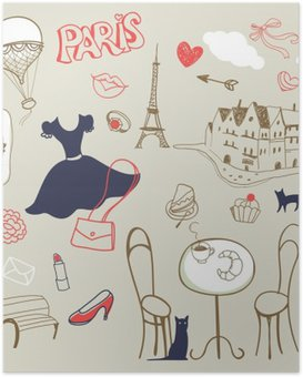 set of hand drawn symbols of Paris Poster HD