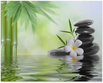 Póster HD Spa de piedras con frangipani