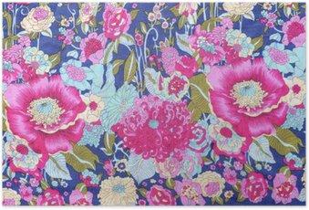 Poster HD Style vintage de fleurs de tapisserie tissu motif de fond