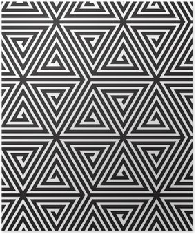 Triangles, Black and White Abstract Seamless Geometric Pattern, Poster HD