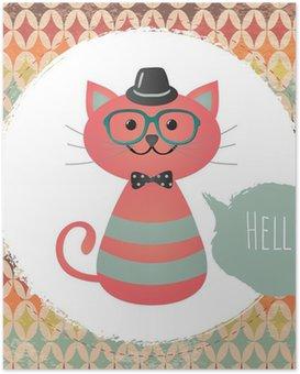 Poster HD Vecteur Hipster chat carte de voeux illustration de conception