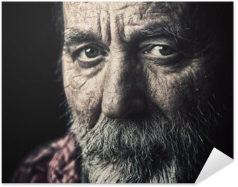 Very old homeless senior man portrait Poster HD