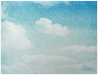 Watercolor clouds and sky background Poster HD