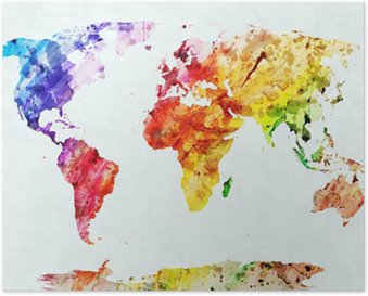 Watercolor world map Poster HD