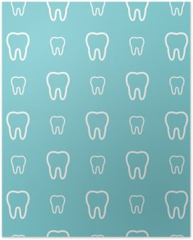 White teeth on blue background. Vector dental seamless pattern. Poster HD