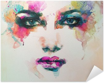 Poster HD woman portrait .abstract watercolor .fashion background