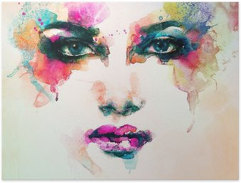 woman portrait .abstract watercolor .fashion background Poster HD