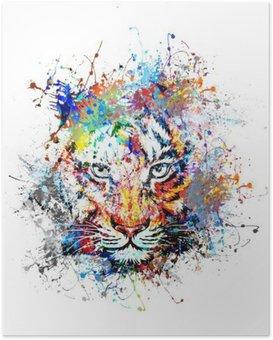 Poster Heldere achtergrond met tijger