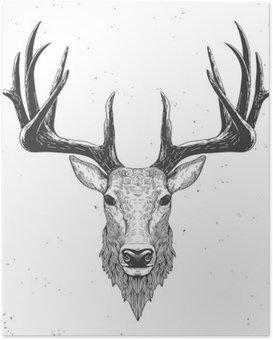 Poster Herten hoofd op wit