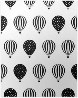 Poster Heteluchtballon naadloos patroon. Baby shower vector illustraties op een witte achtergrond. Stippen en strepen. Zwart en wit heteluchtballonnen design.