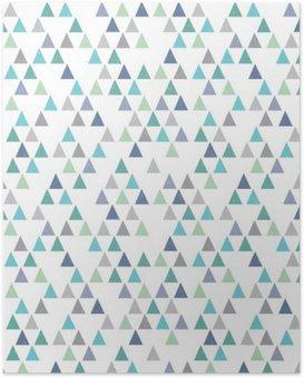 Poster Hippie sans soudure motif géométrique triangles bleu aqua