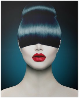 Poster Hoge Portret Fashion Model Meisje met Trendy Fringe