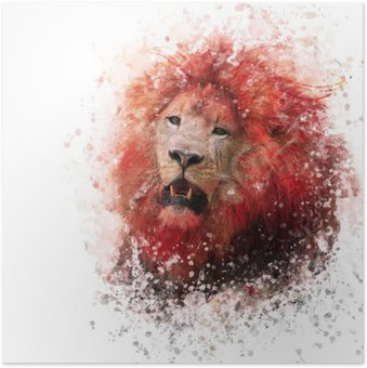 Poster Hoofd van de leeuw aquarel