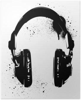Poster Hoofdtelefoon Graffiti