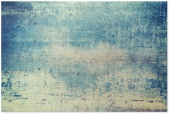 Horizontally oriented blue colored grunge background Poster
