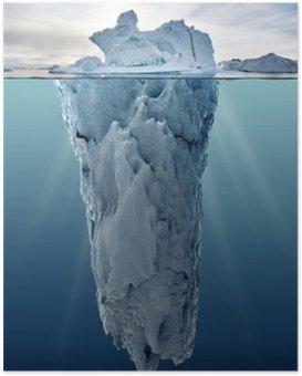 Poster Iceberg avec vue sous-marine