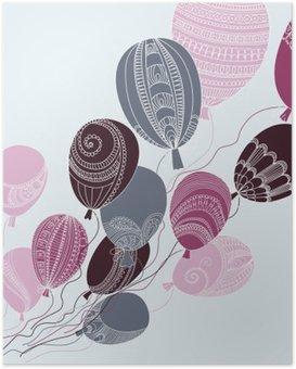Poster Illustratie met kleurrijke vliegende ballonnen