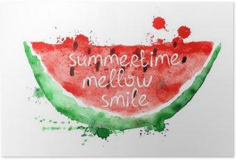 Poster Illustration d'aquarelle avec tranche de pastèque.