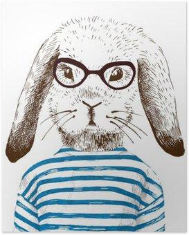 Poster Illustration de lapin habillé