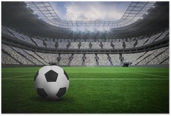 Poster Image composite de noir et blanc de football en cuir